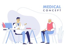 Medicine Concept With Doctor And Old Patient. Practitioner Doctor Man And Senior Patient In Hospital Medical Office. Consultation And Diagnosis.
