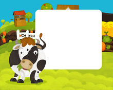 Cartoon Happy And Funny Farm Scene With Happy Cow - With Frame Space For Text - Illustration For Children
