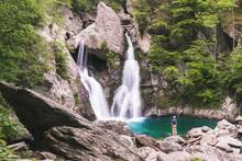 Man Looking At Waterfall Bash Bish Falls In MA