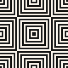 Vector Geometric Squares Seamless Pattern. Abstract Black And White Graphic Ornament With Lines, Stripes, Squared Shapes. Modern Linear Background. Monochrome Striped Texture. Trendy Repeatable Design