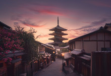 Yasaka Pagoda And Sannen Zaka Street In Kyoto At Sunset, Japan.