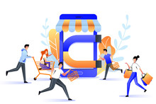 Attraction Buyers To Online Store Sale. Big Magnet Attracts Customers, Marketing Business Strategy. Vector Illustration