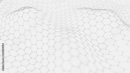Fototapety, obrazy: Futuristic white hexagon background. Futuristic honeycomb concept. Wave of particles. 3D rendering.