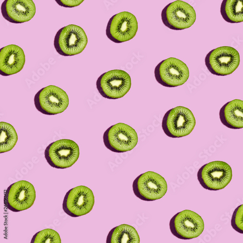Valokuvatapetti Collection of kiwi fruits overhead view flat lay