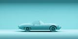 Vintage toy car on color background. minimalism design poster. Rental car for travel. 3D illustration