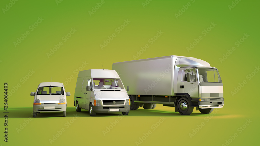 Fototapety, obrazy: Road transportation fleet green