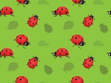 Ladybug Cartoon Seamless Wallpaper