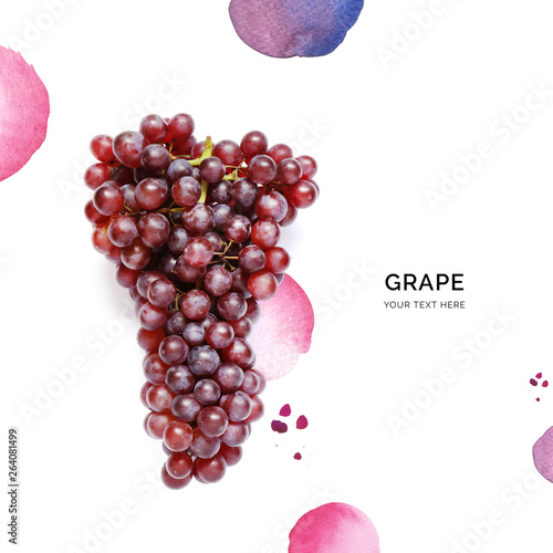 Creative layout made of grape on the watercolor background. Flat lay. Food concept. - 264081499