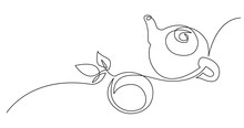 Continuous Line Drawing Of Tea...
