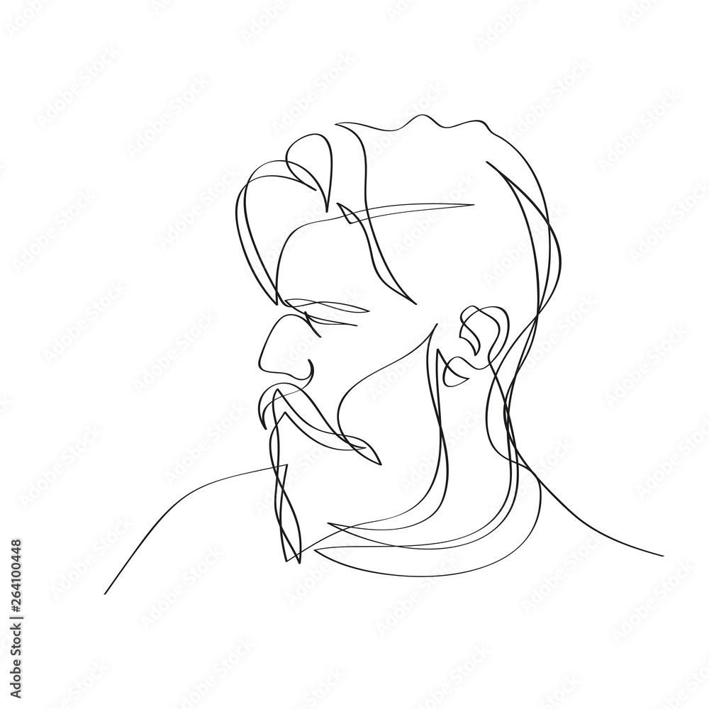 Fototapeta Mężczyzna z brodą. Szkic jedną linią wektor.