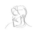 Mężczyzna z brodą. Szkic jedną linią wektor.