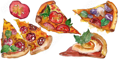 Fotografía  Fast food itallian pizza in a watercolor style isolated