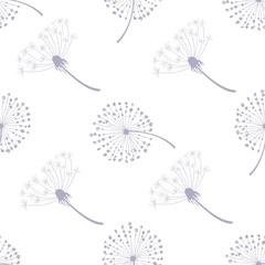 Fototapeta Dmuchawce Floral Seamless Pattern with Dandelions, Flying Dandelion Seeds on Wind Vector Illustration