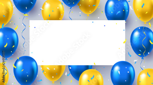 Fotografía  Formal greeting design in national blue and yellow colors with realistic flying helium balloons