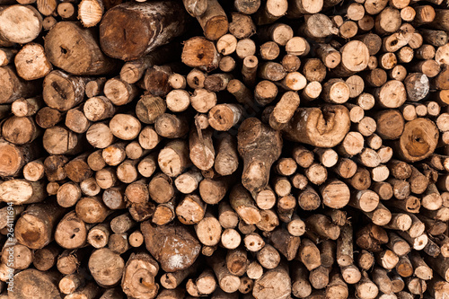 Poster Firewood texture Firewood texture logs rural scene brown background
