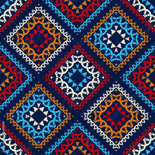 Fototapeta Ethnic Boho Seamless Pattern Ikat Traditional Ornament Geometric Background Folk Motif Can Be Used For Wallpaper Textile Invitation