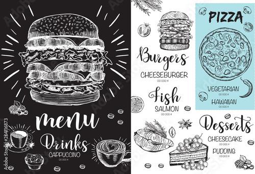Fototapety, obrazy: Restaurant cafe menu, template design. Food flyer.