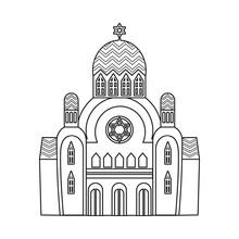 Vector Design Of Synagogue And Jewish Logo. Set Of Synagogue And Church Stock Symbol For Web.
