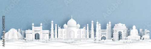 Panorama view of India with Taj Mahal and skyline with world famous landmarks in Fotobehang