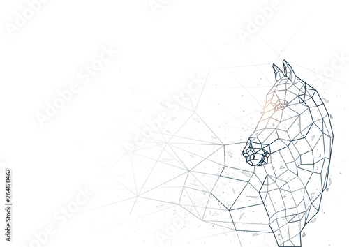 Fotografering Abstract Horse from Low Poly Wireframe Isolated on White Background - Polygonal