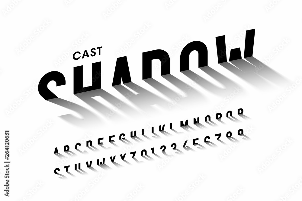 Fototapeta Cast shadow font, alphabet letters and numbers