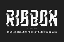 Ribbon Style Modern Font Design, Alphabet Letters And Numbers