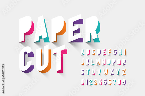 Fototapeta Paper cut typography, alphabet letters and numbers obraz