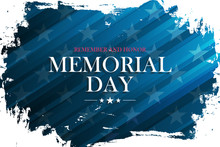 United States Memorial Day Holiday Banner With Brush Stroke Background. Vector Illustration.