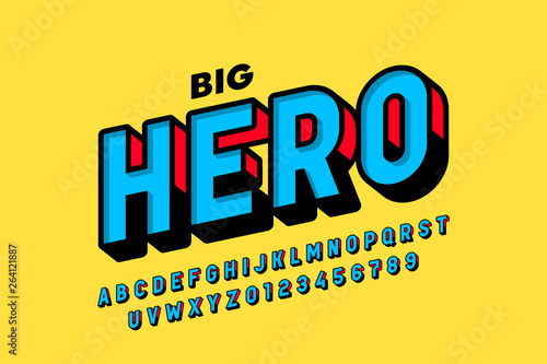 Fotografia  Comics style font design, alphabet letters and numbers