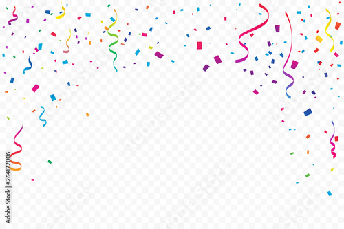 Obraz Many Falling Colorful Tiny Confetti And Ribbon On Transparent Background. Celebration Event and Party. Multicolored. Vector - fototapety do salonu