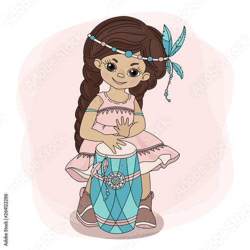 POCAHONTAS DRUM American Native Red Skinned Indian Princess Vector Illustration Wallpaper Mural