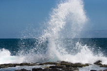 Waves Crashing Against The Rocks. Galapagos Islands. Landscape. Ecuador. Pacific Ocean. South America.