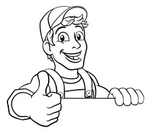 A Handyman Cartoon Character Caretaker Construction Man Peeking Over A Sign And Giving A Thumbs Up