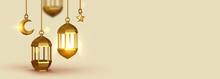 Beige Background 3d Design Is Arabian Vintage Decorative Hanging Lamp Are On Fire