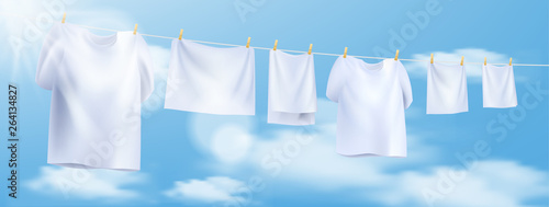 Fotografía  white clothes hanging on the rope. Vector illustration