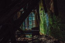 Abandoned Room In An Old House Covered With Green Moss