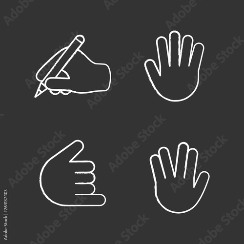 Hand gesture emojis chalk icons set фототапет