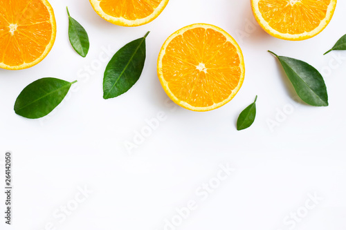 Top view of orange fruits and leaves isolated on white background.