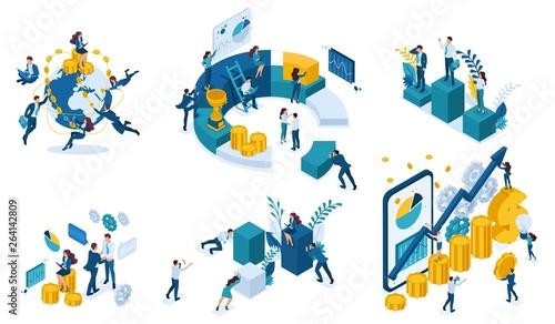 Fotografía  Isometric Business Concept Planning, Data Analysis