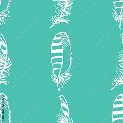 Fototapeta Mockingjay feather seamless pattern hand drawn sketch