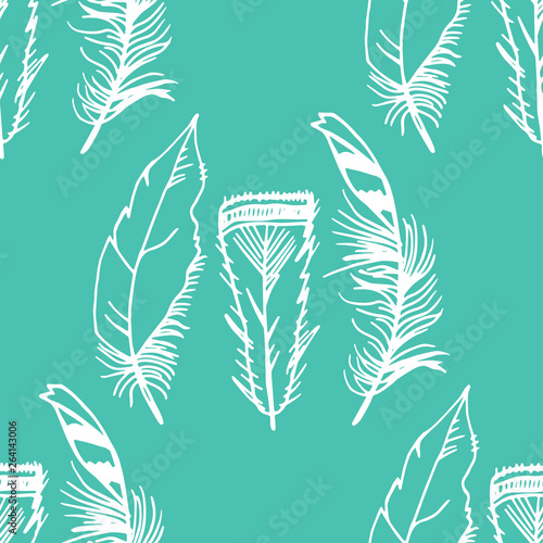Valokuva Mockingjay feather seamless pattern hand drawn sketch