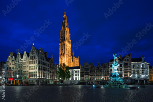 Poster Antwerp Famous fountain with Statue of Brabo in Grote Markt square in Antwerpen, Belgium.