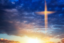 Religion Symbol Shape .  Dramatic Nature Background  , Glowing Cross In Sky . Happy Easter. Light From Sky . Religion Background .  Paradise Heaven . Light In Sky .