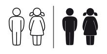 Vector Figurines Man And Woman Outline And Black. WC - Toilet Figure. Isolated On White Background.