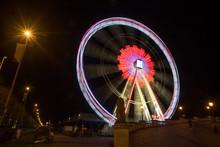 Antwerp Schelde Ferris Wheel Belgium At Night