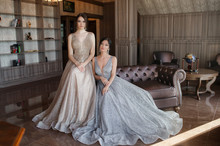 Two Sisters In Elegant Evening Dress.  Girls With Long Healthy And Shiny Hair. Beautiful Young Woman, Model, In Evening Dress Indoors. Portrait Of Two Beautiful Women In Evening Dress. Fashionable, Ev