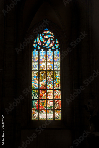 Spoed Fotobehang Stained Amazing stained glass window in St. Barbara's Church, Kutna Hora