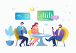Vector creative illustration of business graphics, the company is engaged in the joint construction of column graphs, the rise of the career to success, flat color icons, business analysis concept in