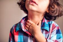 Child Have Sore Throat Sick. C...