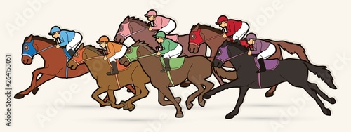Fotografie, Tablou Group of Jockeys riding horse, sport competition cartoon sport graphic vector
